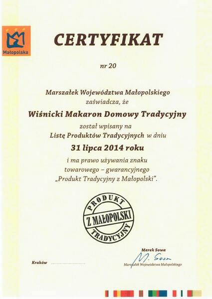 Produkt tradycyjny z Małopolski